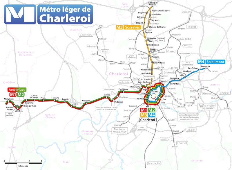 Carte du métro léger de Charleroi, réseau 2012 et lignes abandonnées (By Maximilian Dörrbecker ( Chumwa ))