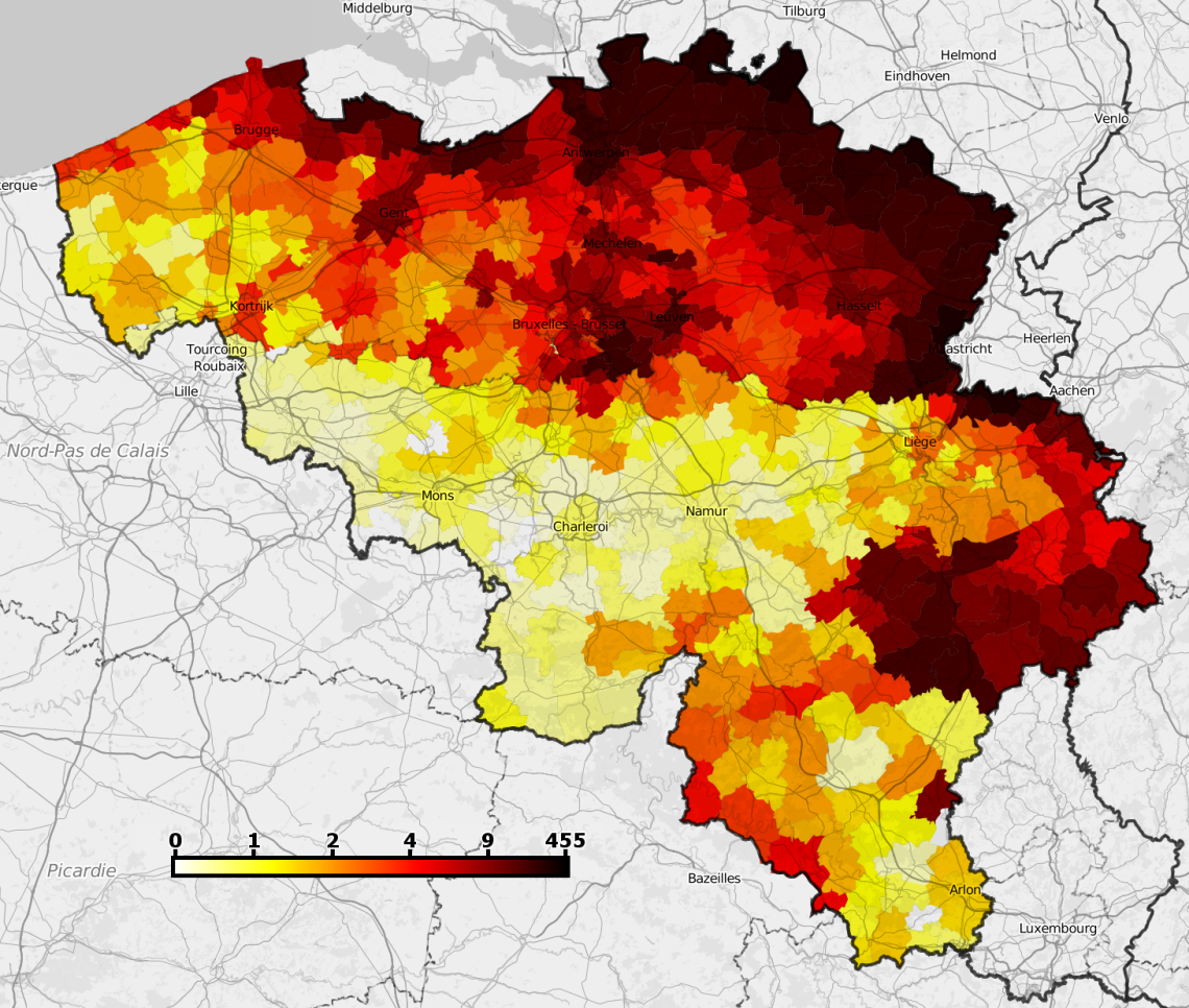 nombre de hollandais vivant en Belgique, par communes. source : www.mappixie.com