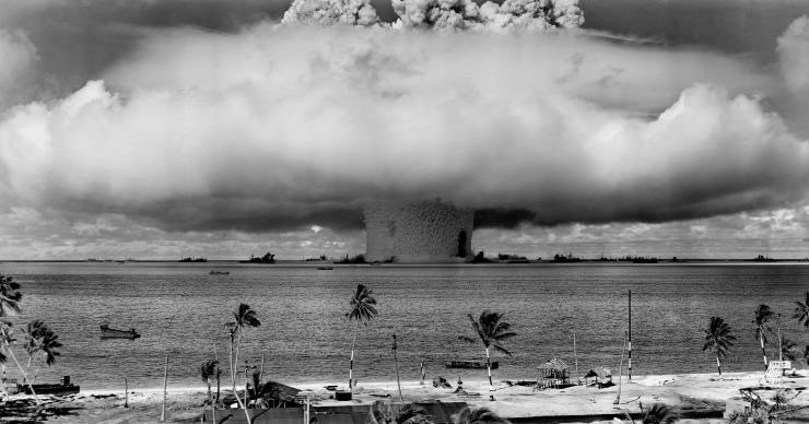 one of two nuclear test explosions set off by the United States at Bikini Atoll in the Marshall Islands in 1946
