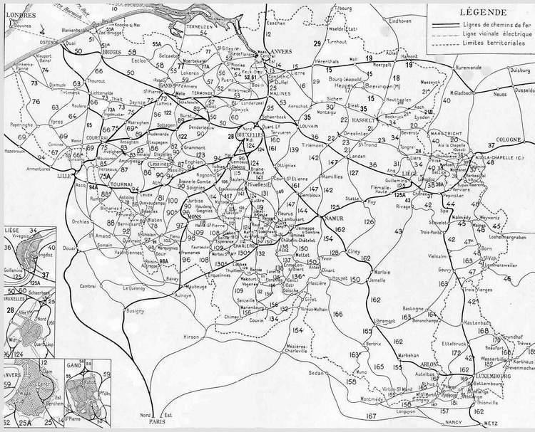 la carte des chemins de fer belges en 1932. Source : oude-spoorlijnen.be