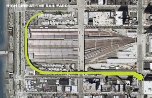 The Site and the High Lane Tird Section / le site avant travaux et la localisation de la High Line, section n°3
