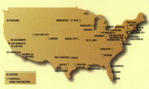Carte des réseau de métro léger aux USA, source : www.stlouisfed.org