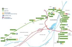 plan du réseau de Valenciennes, récupérant pour partie un tronçon d'une ancienne ligne de chemin de fer. source plan : www.au-fil-des-rails.net